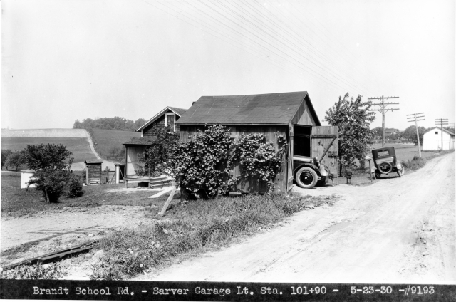 Sarver Garage on unpaved Brandt School Road, 1930